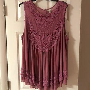Pink sleeveless sheer Cato plus size shirt!
